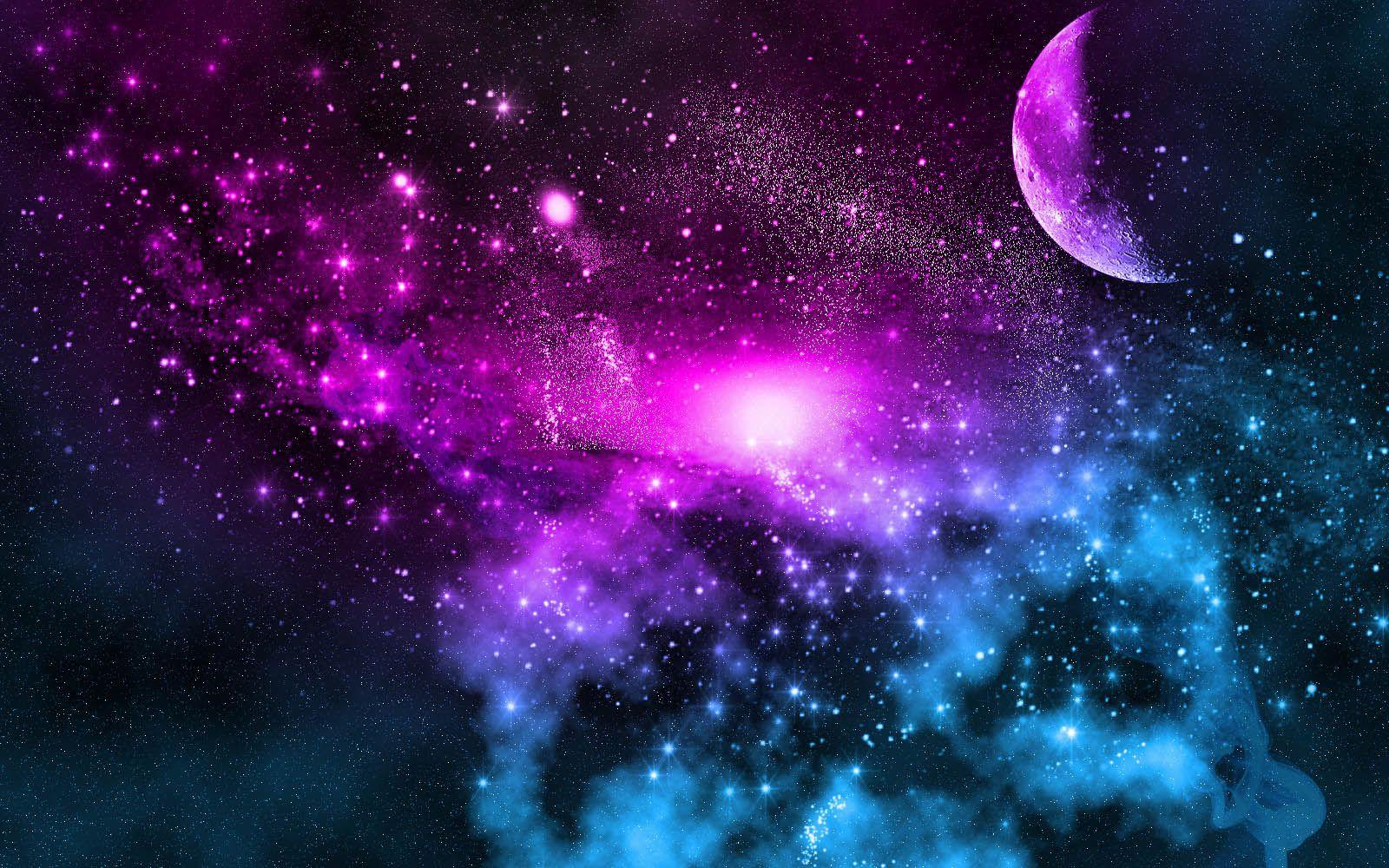 Unique Galaxy Moon Wallpaper